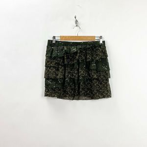 Old Navy Green Floral Ruffle Tiered Mini Skirt